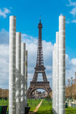 White colums over Eiffel tower in Paris France. Royalty Free Stock Photography