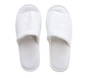 White comfortable slippers isolate (clipping path). Stock Image