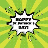 White comic bubble with Happy St. Patrick`s Day word on green background. Vector illustration royalty free illustration