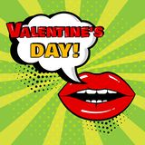 White comic bubble with Valentine`s Day word and red lips on green background. Vector illustration vector illustration
