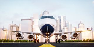 White commercial airplane standing on the airport runway at skyscrapers of a city. Passenger airplane is taking off. Airplane concept 3D illustration Royalty Free Stock Image