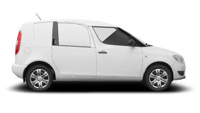 White commercial combi car royalty free stock images