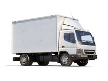 White commercial delivery truck. On a ligth background with shadow stock images