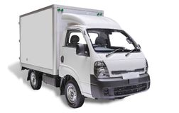 White commercial delivery truck on a ligth background with shadow. (with clipping path)