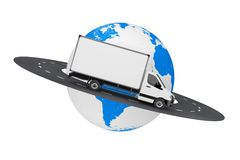 White Commercial Industrial Cargo Delivery Van Truck over Road A. Round Earth Globe on a white background. 3d Rendering Stock Photography