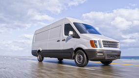 White Commercial Van on Coastline Road Motion Blurred Fisheye lens 3d Illustration. Background royalty free illustration