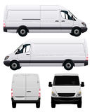 White Commercial Van Stock Photo