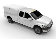 White commercial vehicle delivery truck with a double cab and a van. Royalty Free Stock Photo