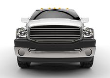 White commercial vehicle delivery truck with a double cab and a van. Royalty Free Stock Image