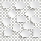 White Communication Bubbles Transparent Shadows Royalty Free Stock Image
