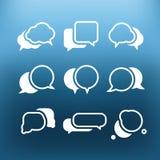 White communication cloud icons clip-art on color background. Design elements Stock Photos