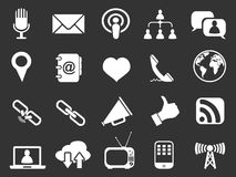 White communication icons set vector illustration