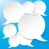 White Communication Speech Bubbles Blue Background Stock Photography