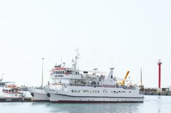 White Commuter Boat on Body of Water Royalty Free Stock Images