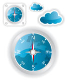 White compass and cloud icons illustration Royalty Free Stock Photo