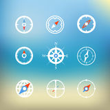 White compass icons clip-art on color background stock illustration