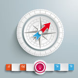 White Compass Infographic Circle Banners. White compass with banners on the grey background Stock Photos