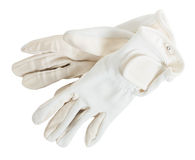 White  competition gloves for Equestrian sports isolated Stock Images