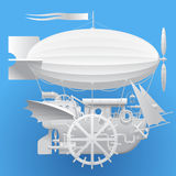 White complex fantastic flying ship. On blue background. Steampunk style technology concept. Contains the Clipping Path. There is in addition a vector format Royalty Free Stock Photos
