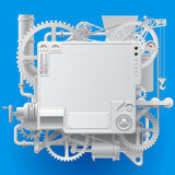 White complex fantastic machine. With gears, levers, pipes, meters, production line, flue and lifting crane on blue background. Steampunk style template, poster Royalty Free Stock Photos