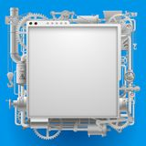 White complex machinery signboard and frame on blue Stock Photo