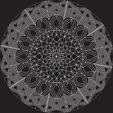 White complex mandala design on blank background using basic shapes. Royalty Free Stock Image