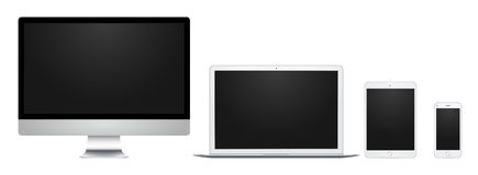 White computer display, laptop, pad and phone with blank screen, for design, presentation, web, mobile. White computer display, laptop, pad and phone with blank Stock Photos