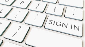 White computer keyboard and sign in key. Conceptual 3D rendering Royalty Free Stock Photos