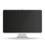 White Computer Monitor with black screen on a white background Royalty Free Stock Images