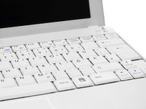 White computer screen closeup against white. White computer with white screen front closeup against white royalty free stock photography
