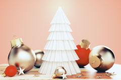 White concept christmas tree with christmas tree balls and golde Stock Photography