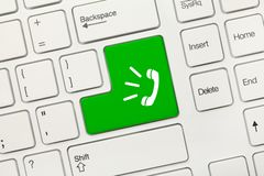 White conceptual keyboard - Green key with Phone call symbol stock photo