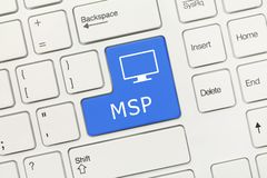 White conceptual keyboard - MSP blue key royalty free stock images