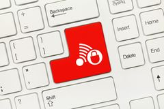White conceptual keyboard - Red key with Danger Connection symbol royalty free stock photo