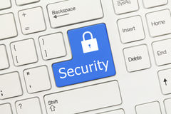 White conceptual keyboard - Security (blue key) Royalty Free Stock Image