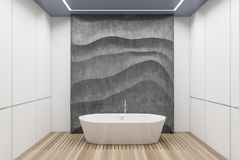White and concrete bathroom, white tub. White panel bathroom interior with a wooden floor, a white tub, a concrete wavy decoration element on a wall. 3d vector illustration