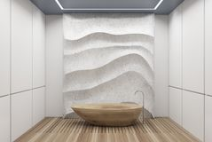 White and concrete bathroom, wooden tub. White panel bathroom interior with a wooden floor, a wooden tub, a concrete wavy decoration element on a wall. 3d royalty free illustration