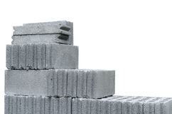 White concrete block. With white background Royalty Free Stock Images
