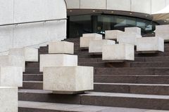 White Concrete Blocks on dark Granite Steps Stock Photography