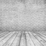 White Concrete brick walls and wood floor for text and background Royalty Free Stock Photos
