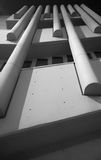 White concrete brutalist detail. Details of a white concrete 1960s building Stock Photos