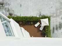 White Concrete Building Below 2 White Chaise Lounge and White Parasol on Aerial Photography Stock Photos