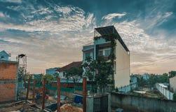 White Concrete Building Under Cumulus Clouds royalty free stock photos