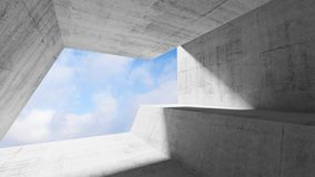 White concrete interior with blue cloudy sky. In window. Modern minimalist architecture background, 3d render illustration Stock Photo