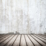 White concrete interior with wooden floor Stock Photography