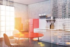 White and concrete kitchen, red table side toned. White and concrete kitchen interior with hexagon tiles, a countertop with shelves, a cutting board and a red royalty free illustration