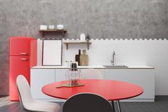 White and concrete kitchen, red table. White and concrete kitchen interior with hexagon tiles, a countertop with shelves, a poster and cutting board and a red stock illustration