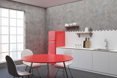 White and concrete kitchen, red table side. White and concrete kitchen interior with hexagon tiles, a countertop with shelves, a cutting board and a red fridge vector illustration