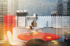 White and concrete kitchen, red table toned. White and concrete kitchen interior with hexagon tiles, a countertop with shelves, a poster and cutting board and a stock illustration