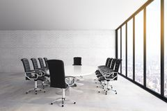 White concrete meeting room. Interior with panoramic city view, furniture and daylight. 3D Rendering royalty free illustration